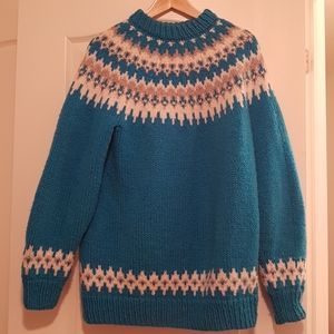Vintage 90s hand knitted oversized sweater blue